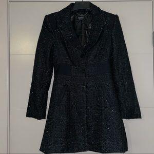 Bebe black silver glitter king coat duster